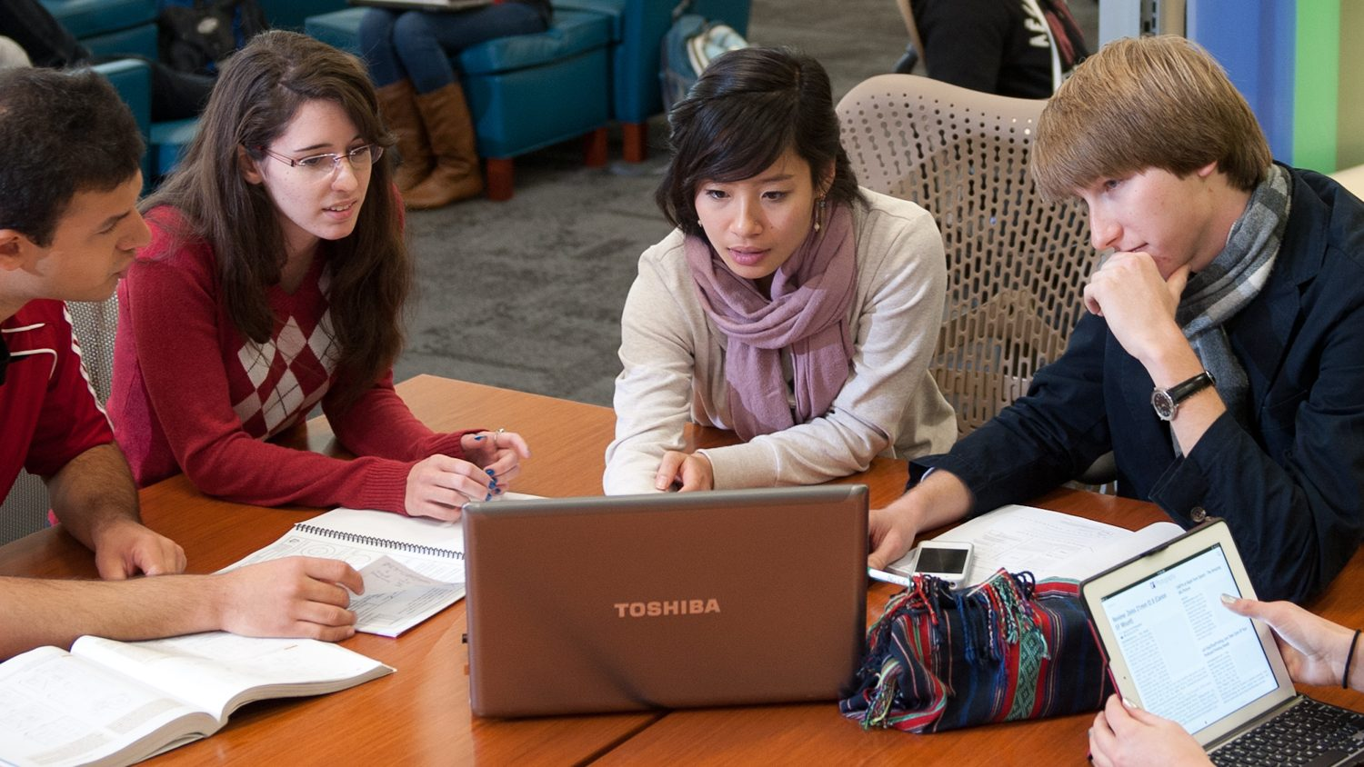 Grad students studying at NC State's Hunt Library