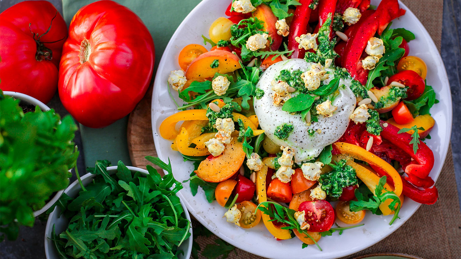 Picture of tomato and colorful salad