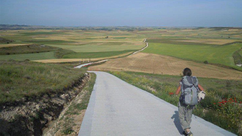 Woman hiking in rural area