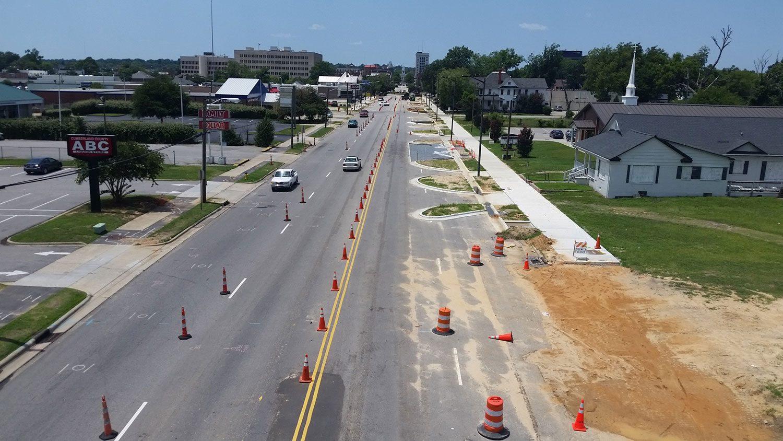 Fayetteville green street under construction