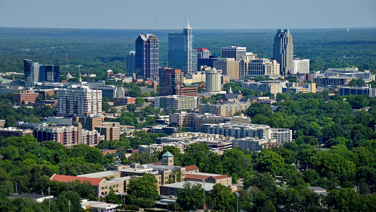 Aerial view of downtown Raleigh.