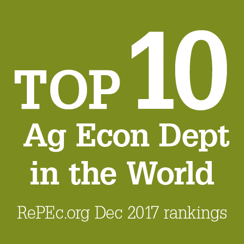 "Text Graphic: ""Top 10 Ag Econ Dept in the World"" (source) RePEc.org Dec 2017 rankings"