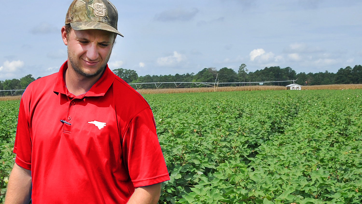 Young farmer in a cotton field in eastern North Carolina