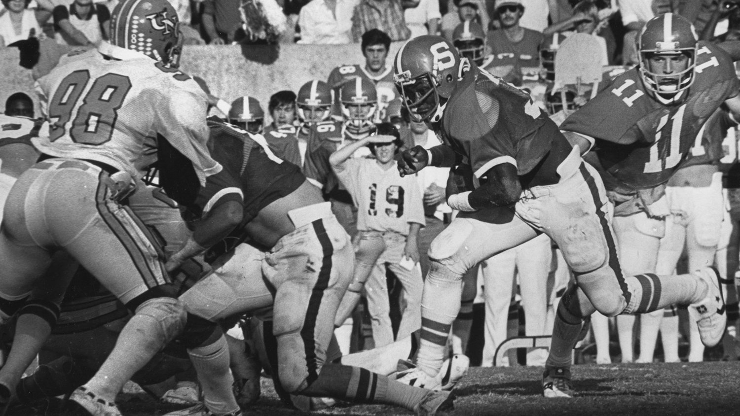 Billy Ray Vickers carries the ball down field in a Technician photo, circa 1979.