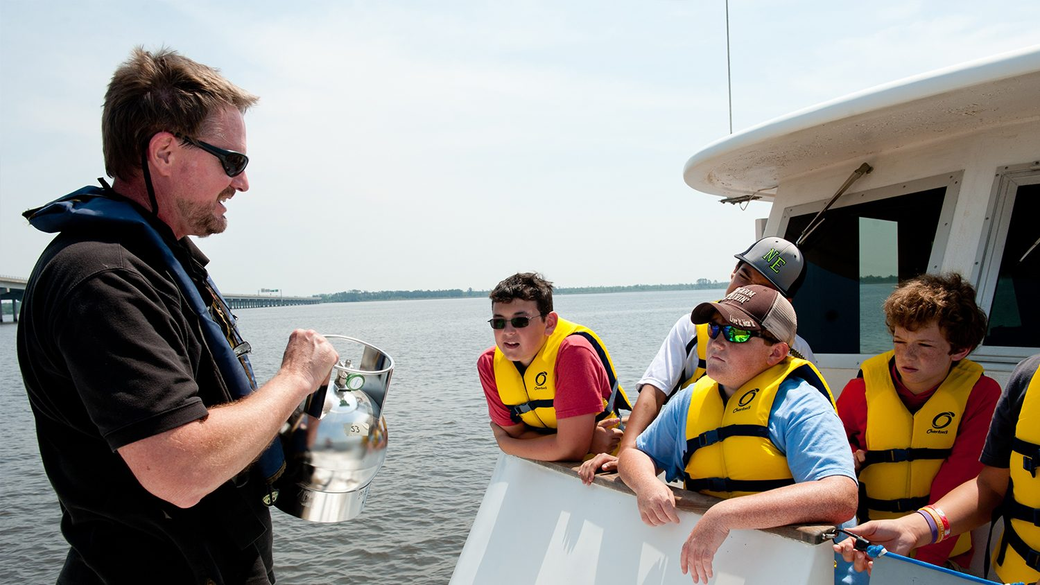 A professor and students on a medium sized research boat