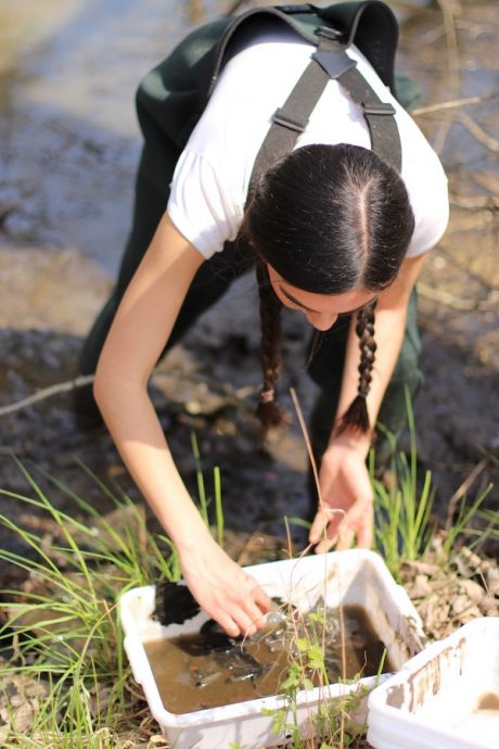 April Sharp looks for macro-invertebrates after surveying a pond.