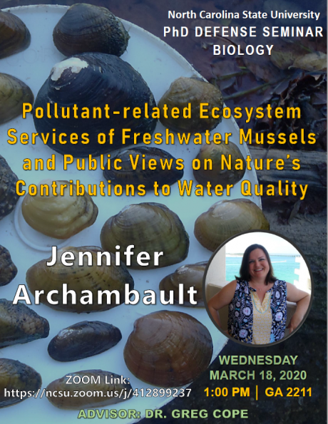 PhD defense seminar poster for Jennifer Archambault