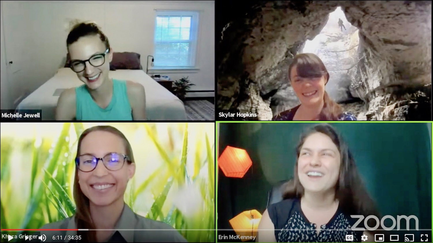 Meet the 2020 faculty, Khara Grieger, Michelle Jewell, Erin McKenny, Skylar Hopkins via Zoom