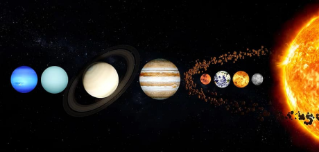 The planets circling our sun, islands in the sea of our solar system.