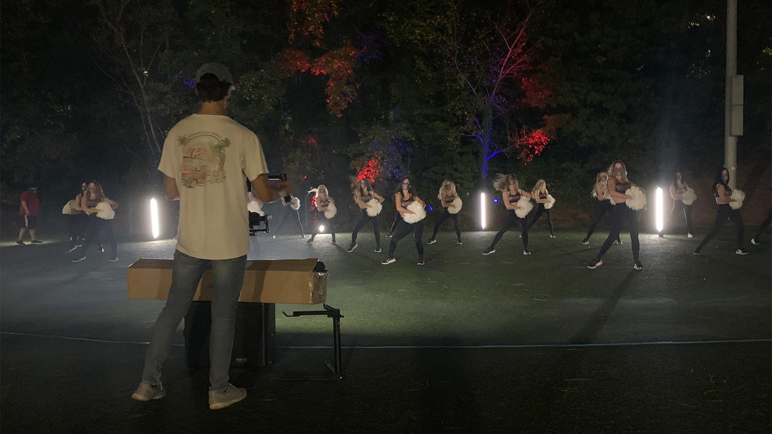 Tolar Ray films the NC State Dance Team in a night-time video shoot for Thriller