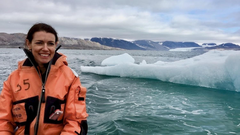 Karen Lloyd near an iceberg