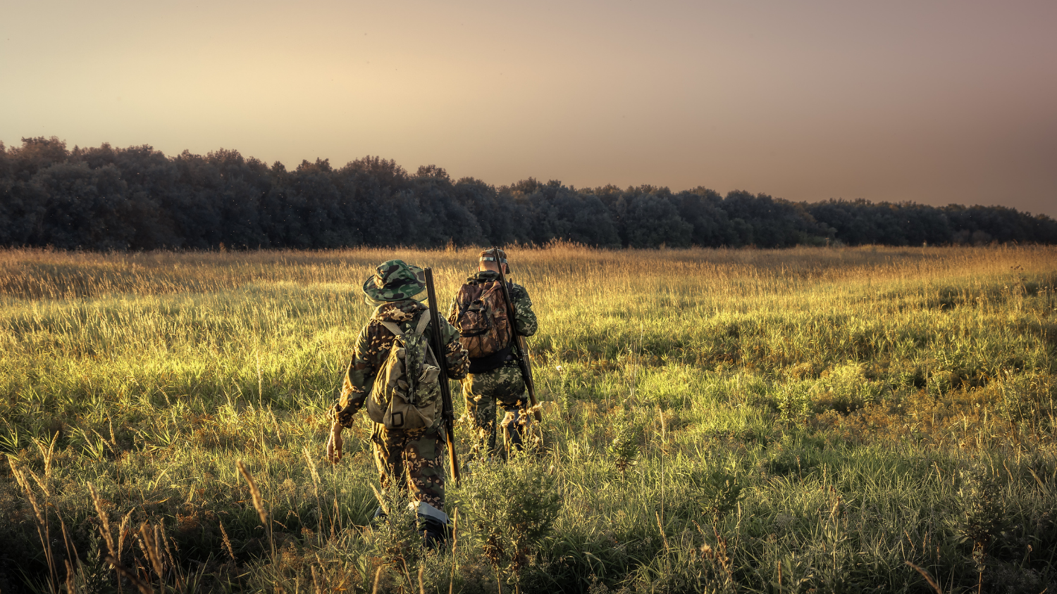 Hunters moving through a thick grass field
