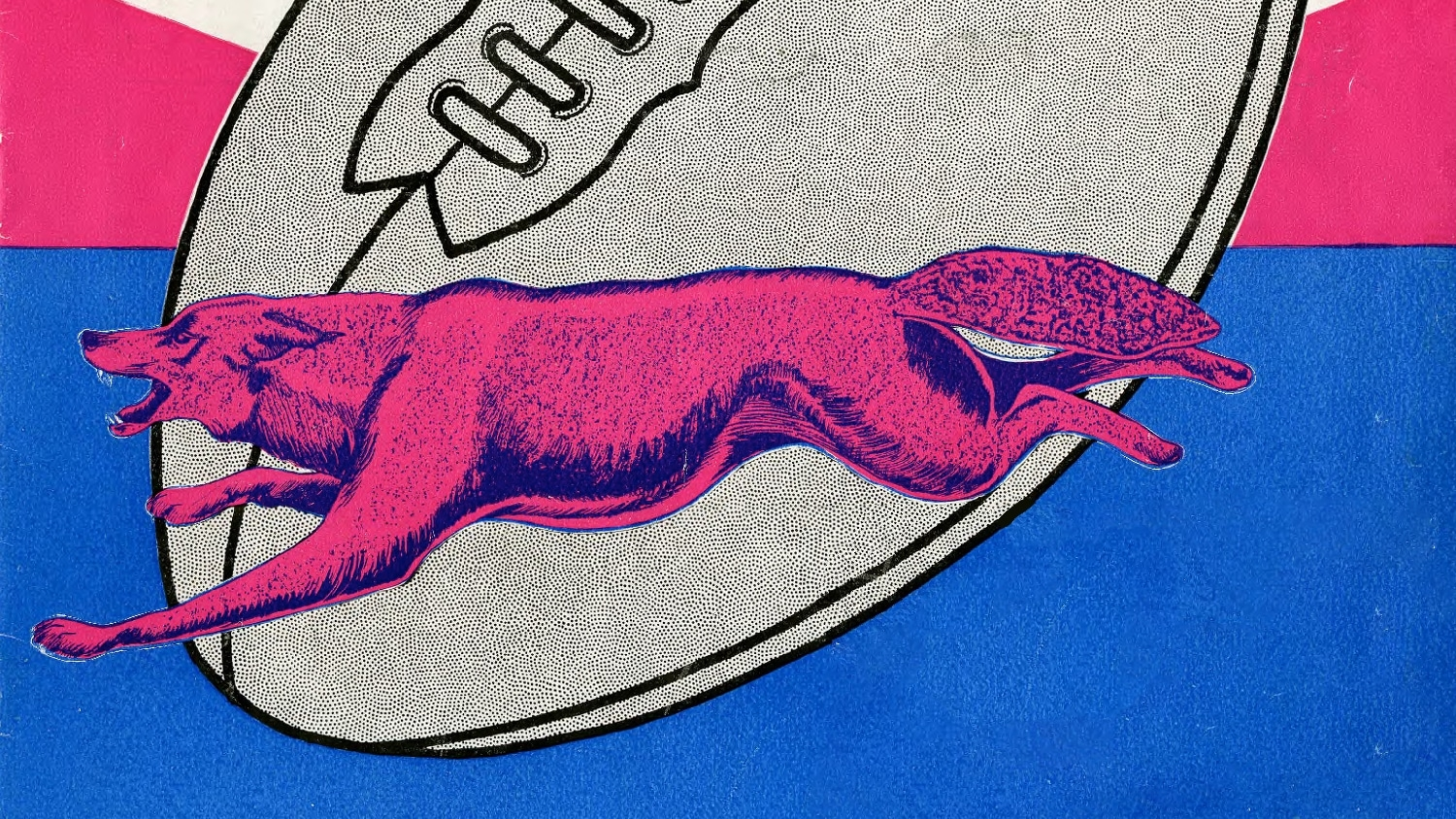 A pink and blue wolf illustration from an NC State 1931 football program.