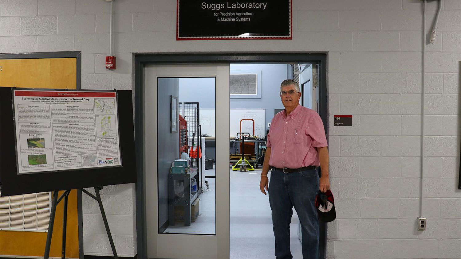 Gary Roberson in front of the Suggs laboratory