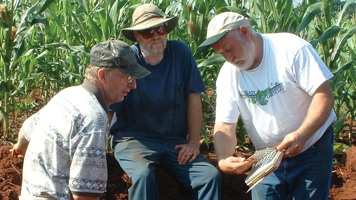 NC State Crop and Soil researchers testing soil in corn field