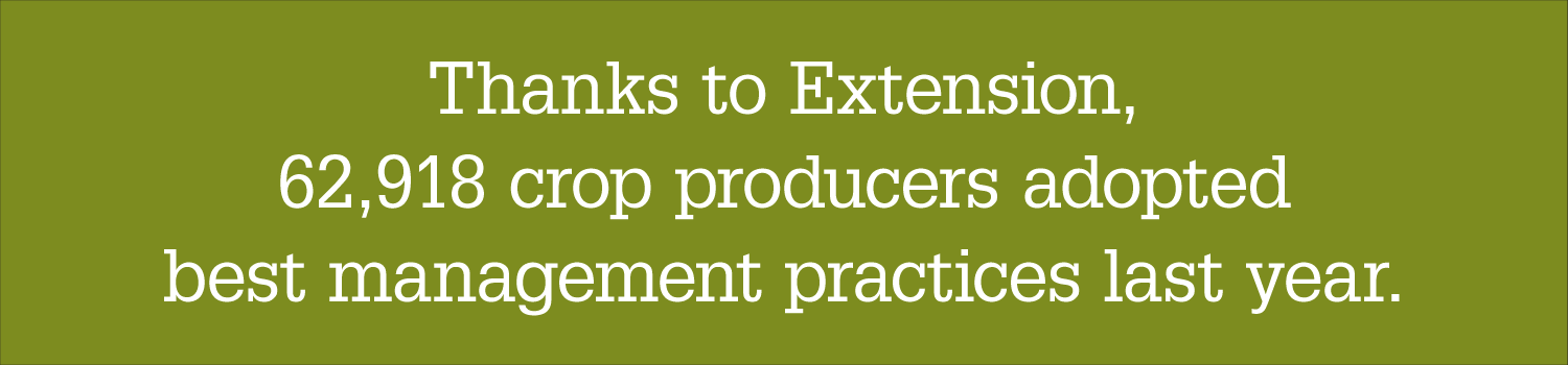 Graphic with text: Thanks to Extension, 62,918 crop producers adopted best management practices last year.