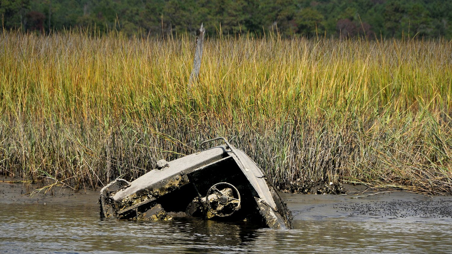 A sunken fishing boat on waterway near Supply, NC