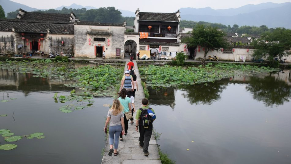 Students visiting Hongchun Village in China.