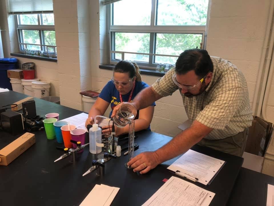 Lab evaluating water quality