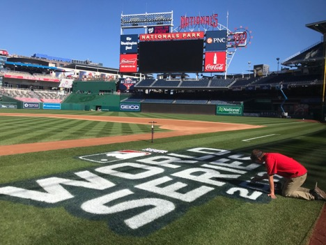 John Turnour, Washington Nationals' Director of Field Operations and NC State Turfgrass Alumnus, prepares the field for the World Series