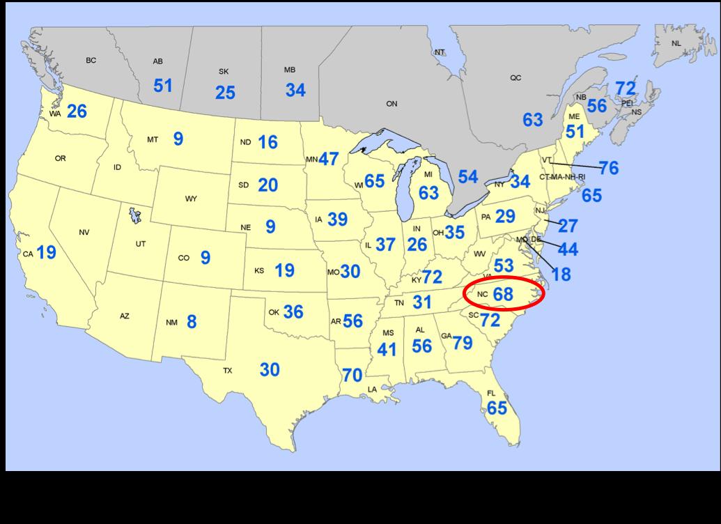 Map of US soils deficient in potassium