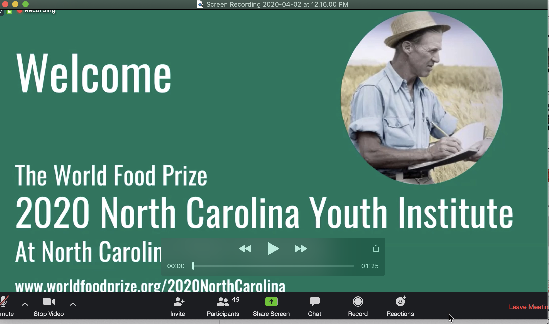 A green title slide of a presentation about the NC Youth Institute