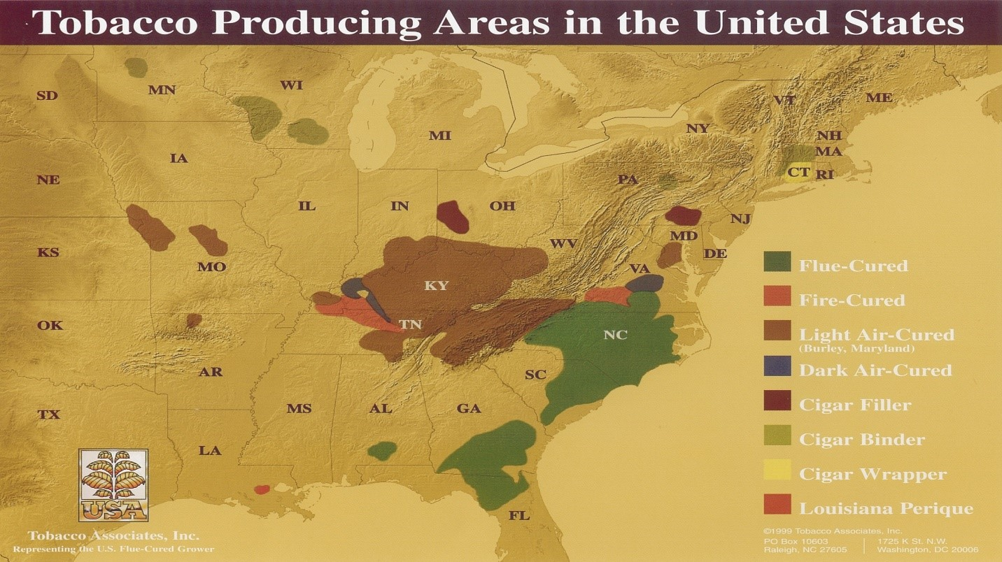 map of tobacco producing areas in the southeast US