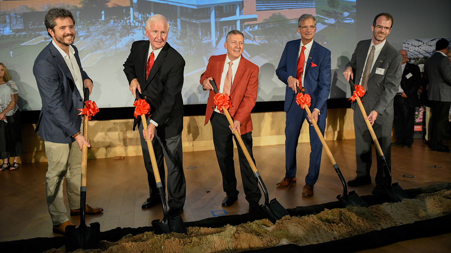 Owen Wagner (far left) and other foundational supporters for the Plant Sciences Initiative during the Plant Sciences Building groundbreaking on September 6, 2019.