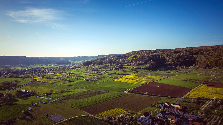 aerial view of farm community