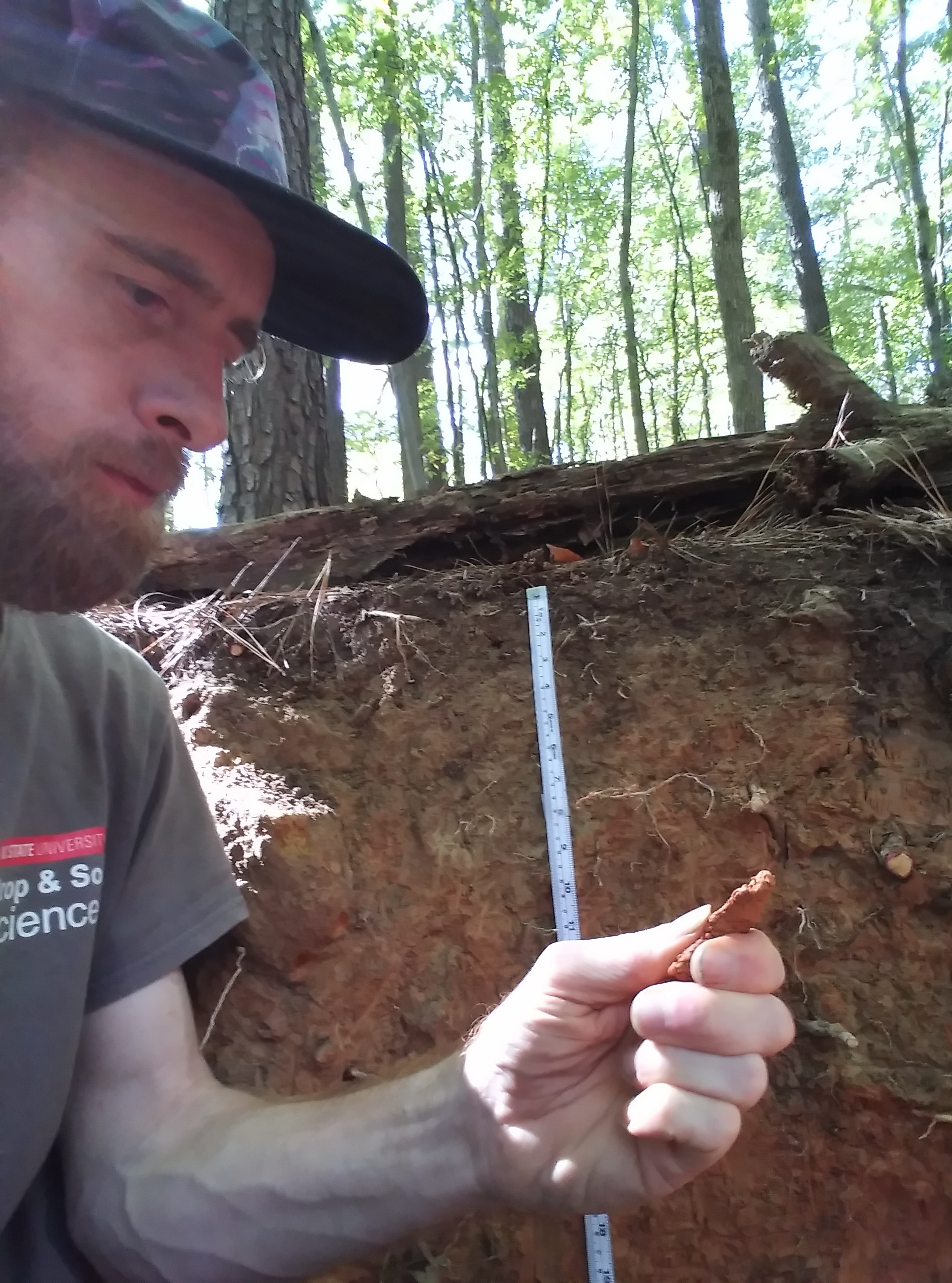 Student handles soil sample outdoors