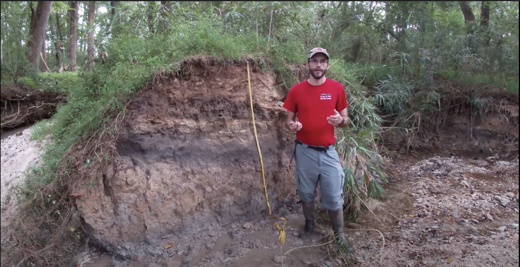 Man in red shirt teaches soil science