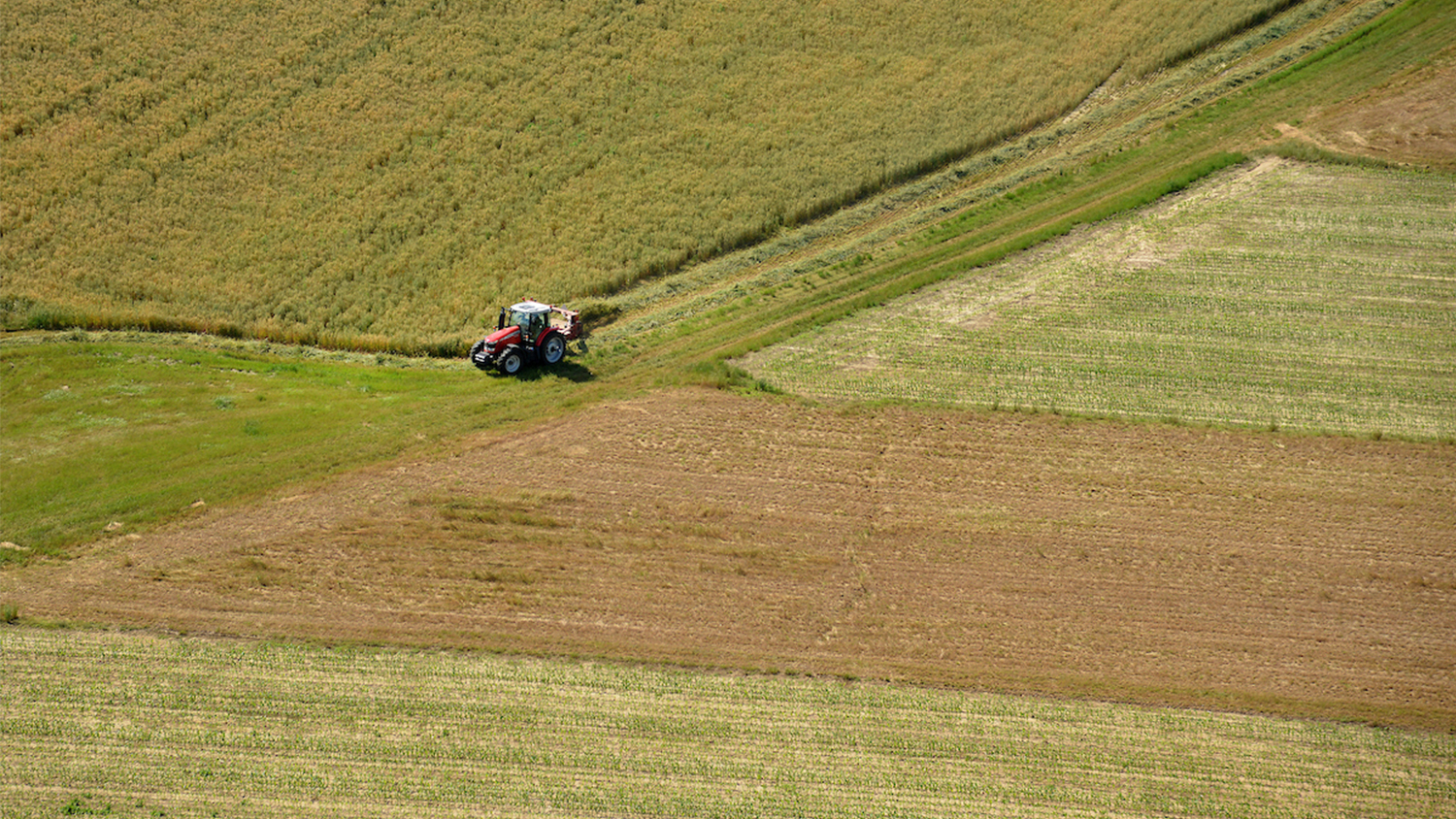 aerial view of tractor on a farm