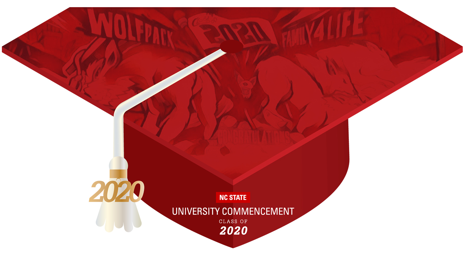 NC State graduation cap illustration