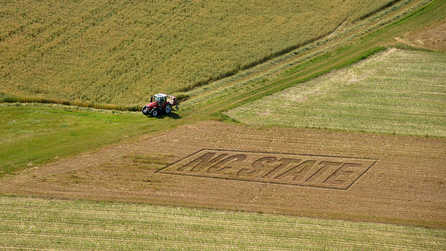 tractor mowing a field