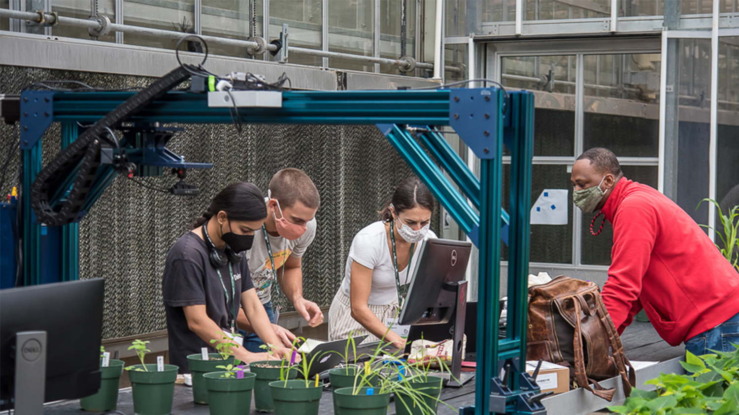 Students work on computers inside a plant breeding greenhouse