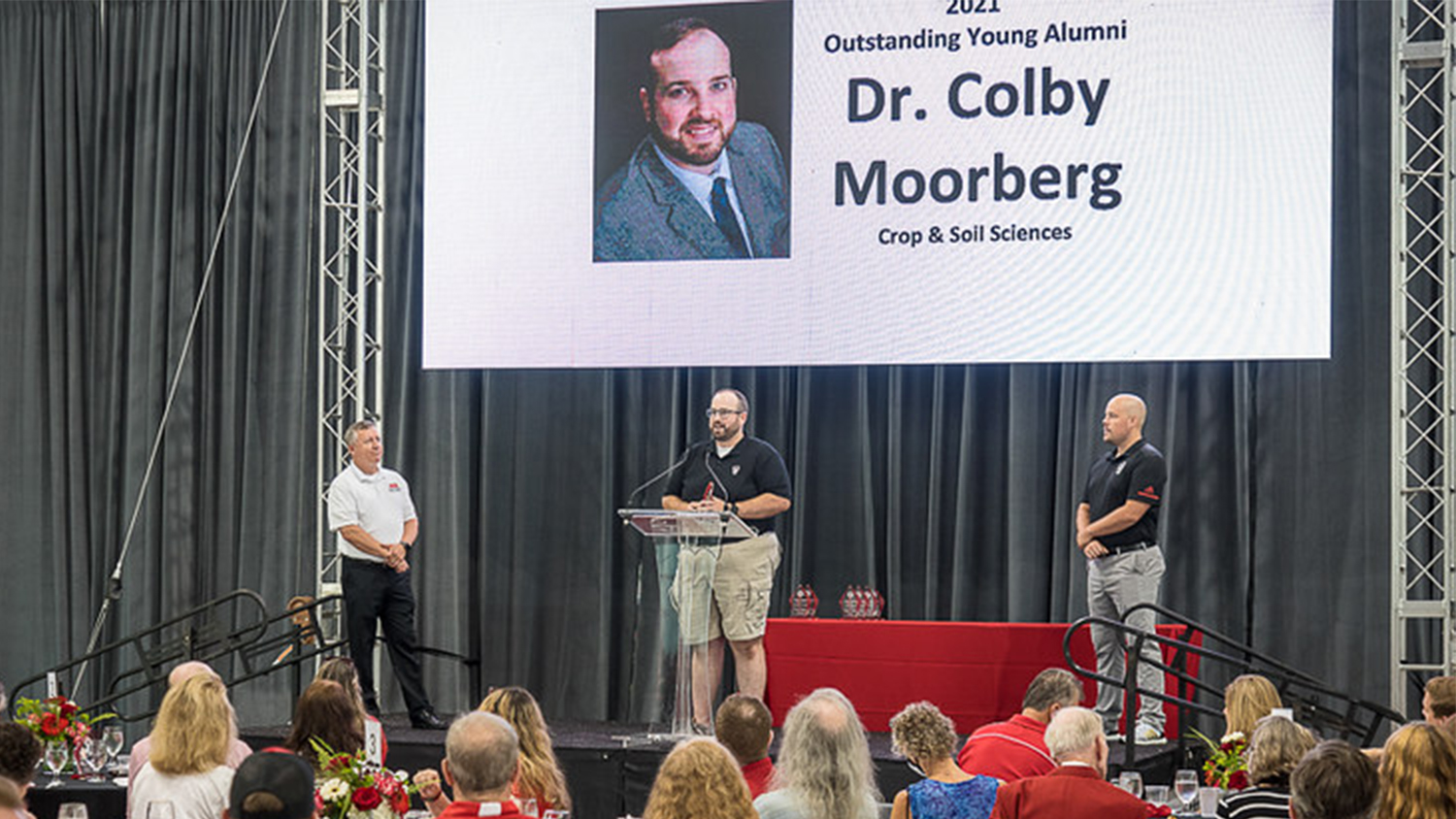 A man speaking at the North Carolina State Awards ceremony