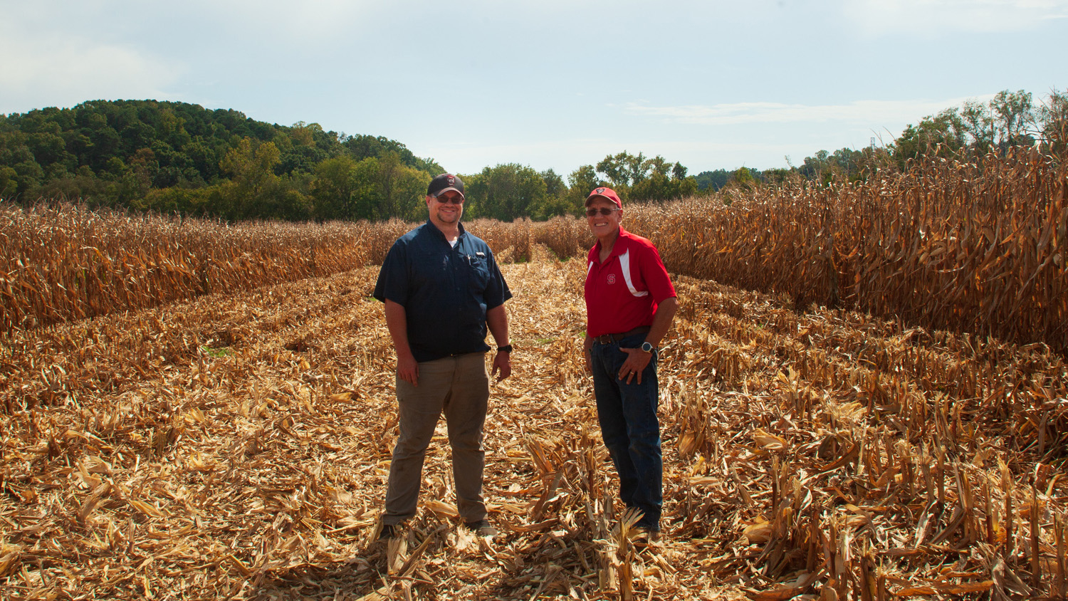 Father and son stand side by side in a corn plot