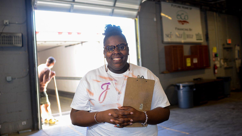 Industrial engineering graduate student Jazmine Davis zaps inefficiencies at food hubs and on the farm.