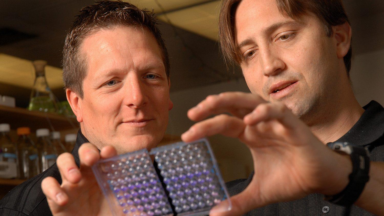 JohnCavanaghandChristianMelander (right) look at slide