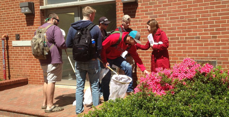 Angela Cruise leads ENT163 lab class on a insect collecting tour of campus