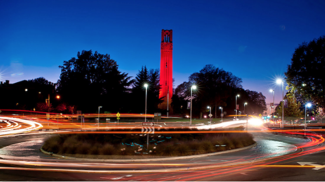 NCSU Bell tower at night