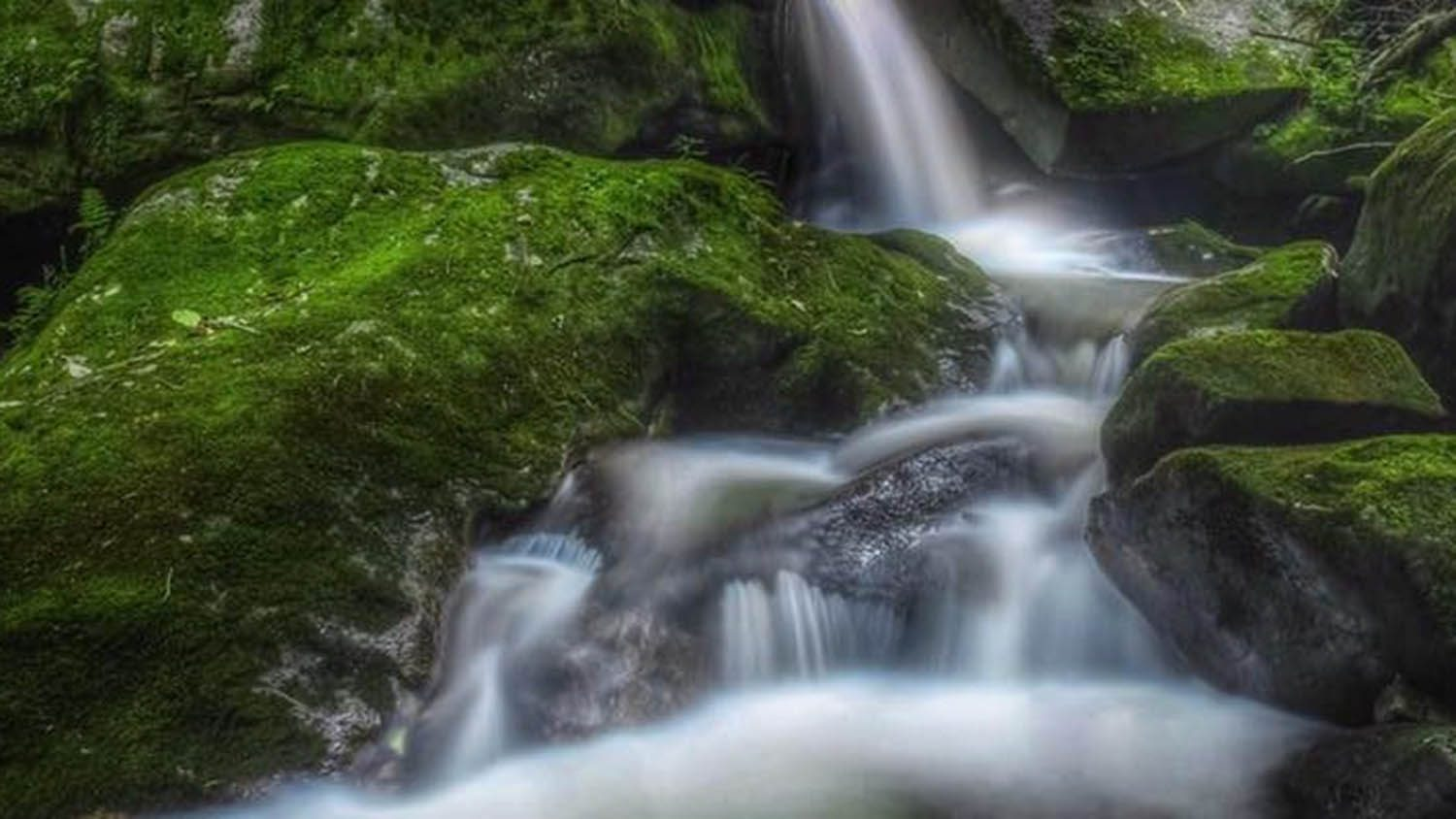 Photo of waterfall flowing over moss-covered rocks
