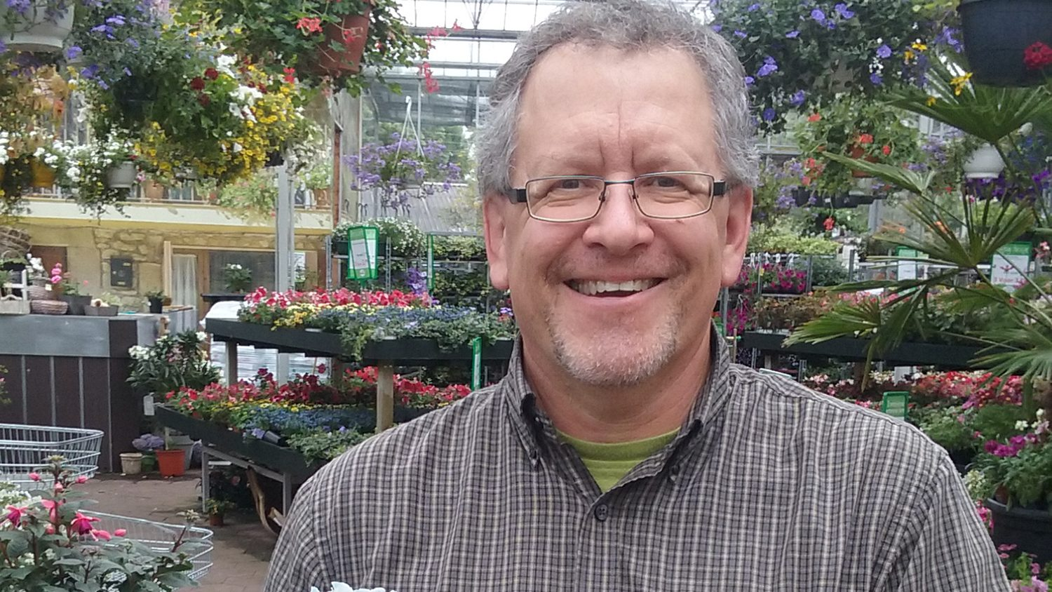 Dr. Brian Whipker in a plant nursery.