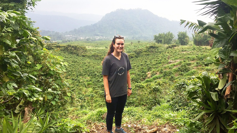 CALS student Kati Scruggs in the Guatemalan landscape