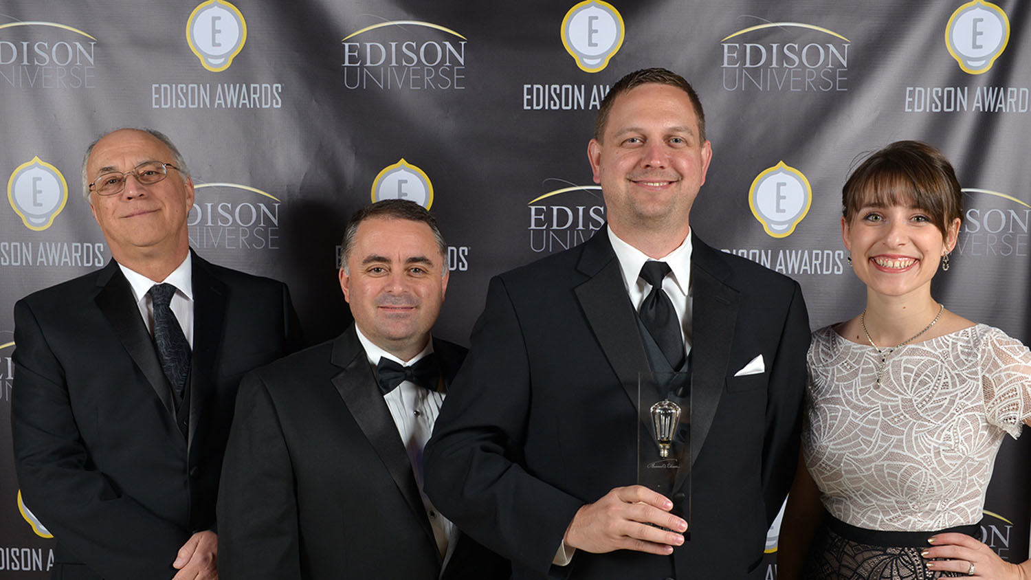 Josip Simunovic (left), Pablo Coronel, Michael Druga and Amanda Vargochik (right) at the 2015 Edison Innovation Awards.