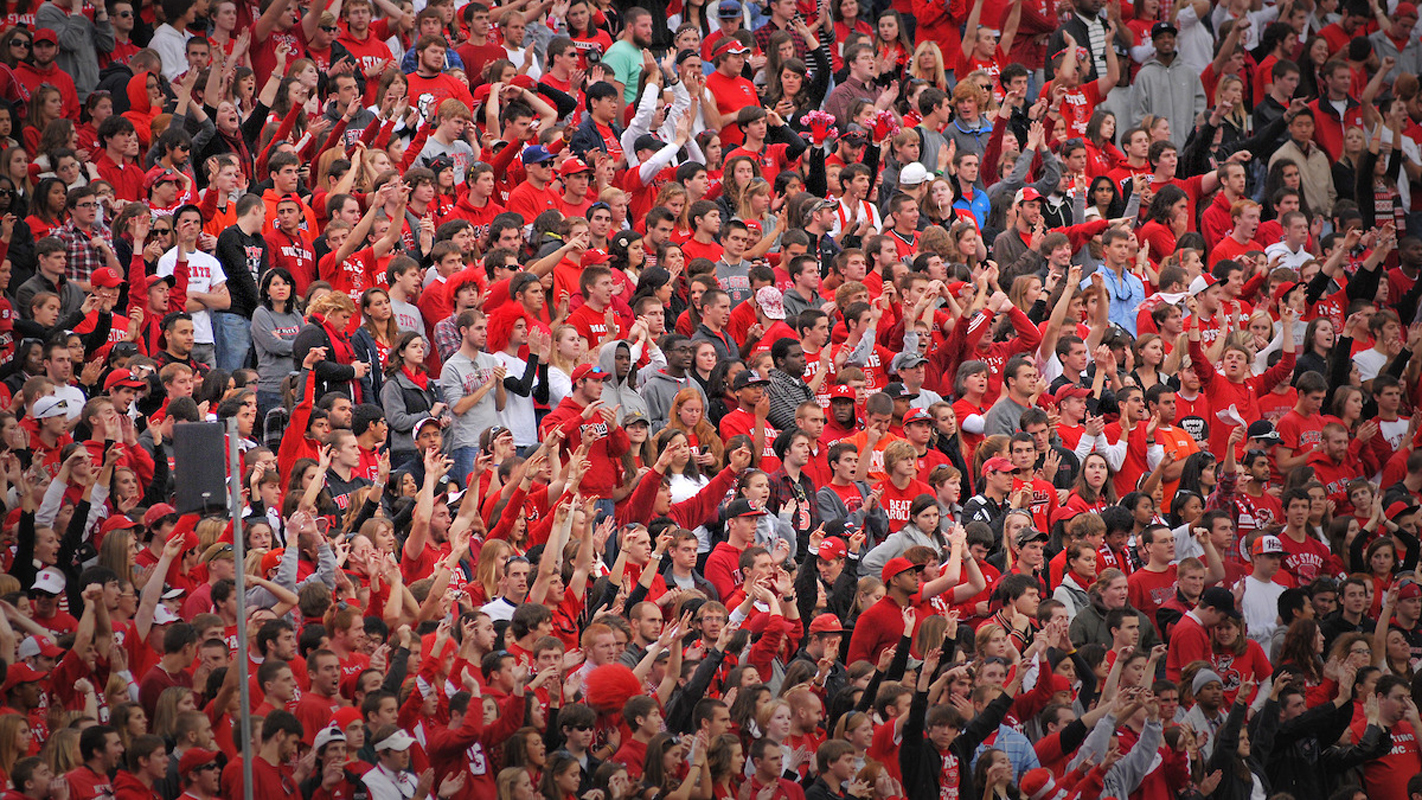 Crowd of Wolfpack fans at game