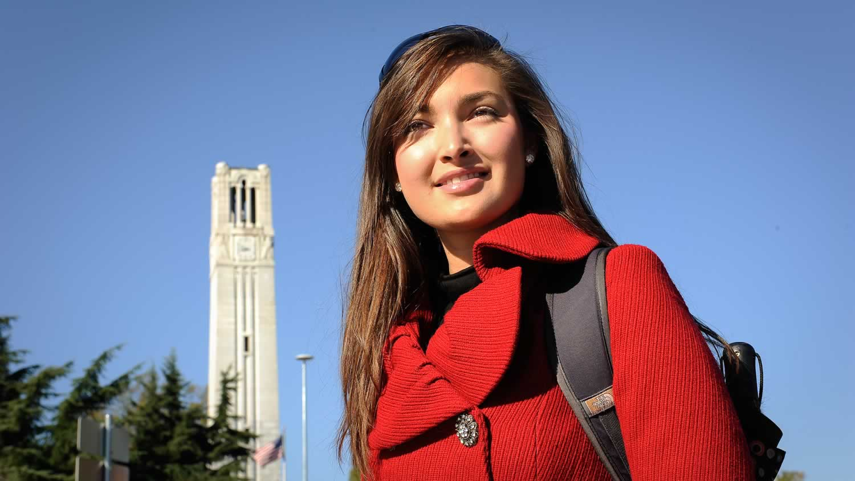 Student walks past the belltower