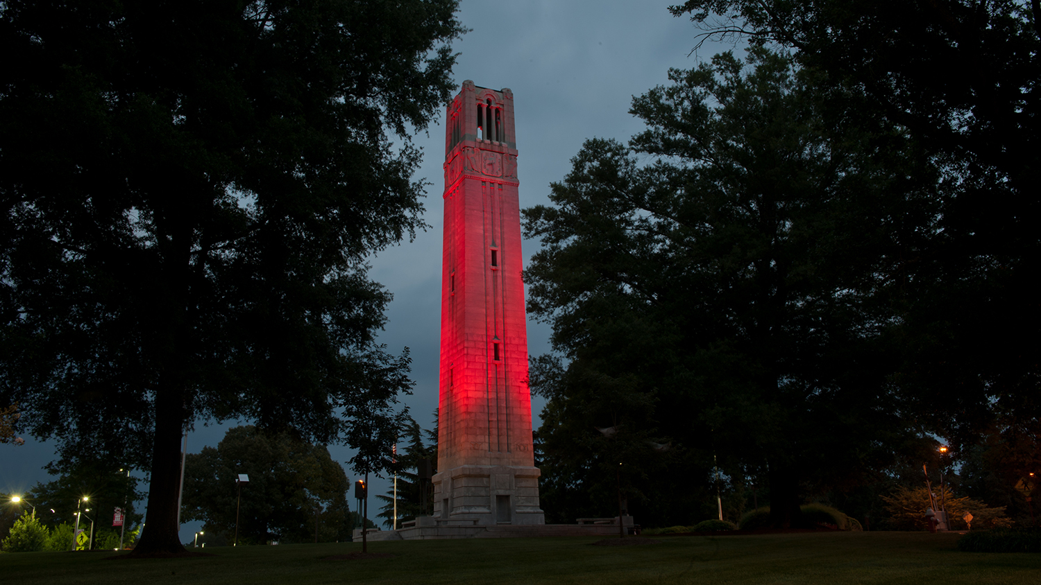 Bell tower with red lighting