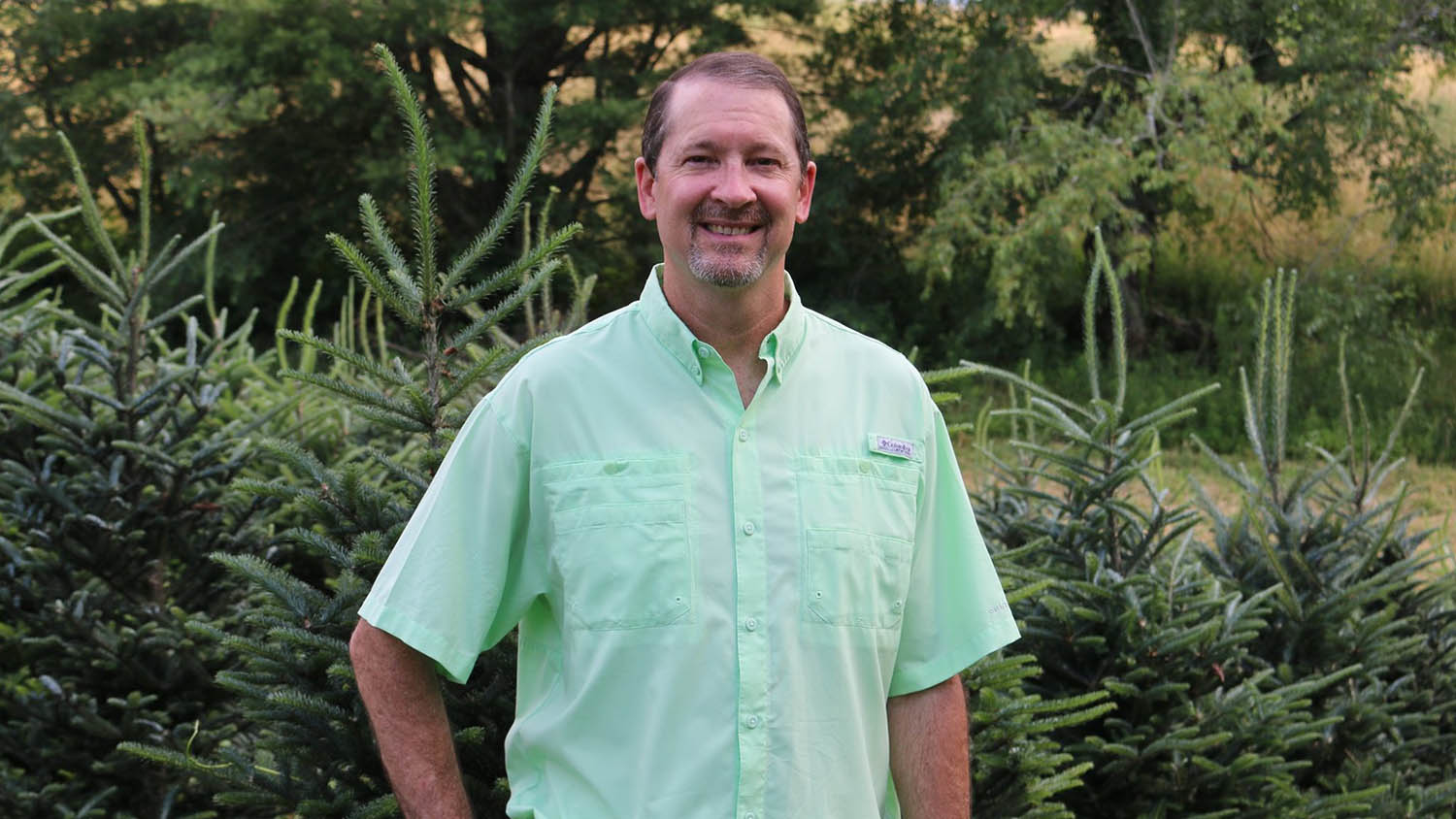 Man in green shirt standing in front of Fraser fir Christmas trees.