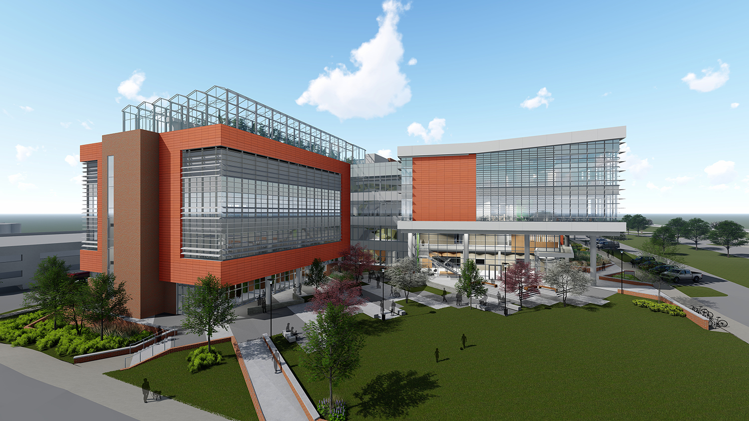 Artist rendering of a large building featuring lots of glass.